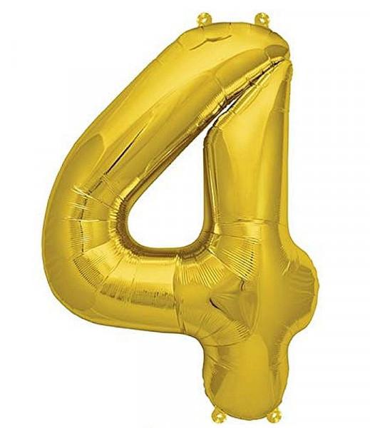 Folien-Ballon 35cm, gold, Ziffer 4