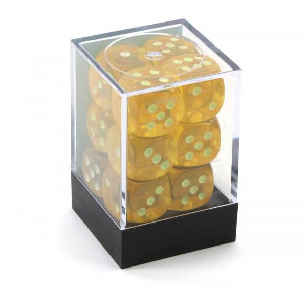 Augenwürfel mit Punkten die leuchten - Box mit 12 Würfeln gelb
