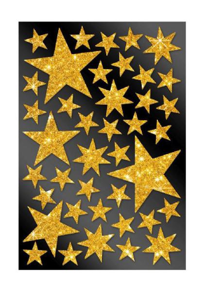 Glitzersterne gold, 40 Stickers
