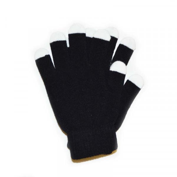 Zauberhandschuhe Baumwolle - Schwarz mit weissen Spitzen