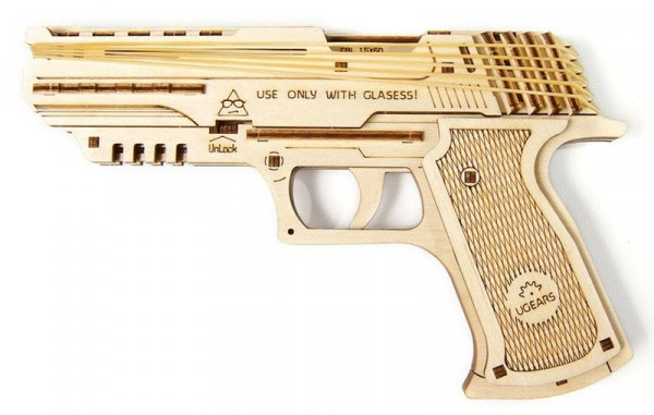 Ugears - mechanischer Holzbausatz - Wolf-01 Pistole