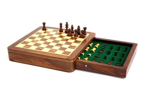 Schach mit Schublade 18 x 18cm - magnetisch