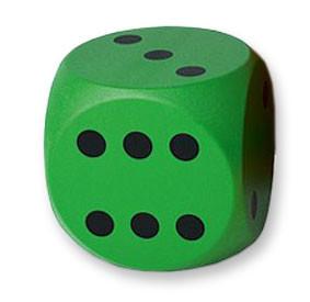 Schaumstoff Würfel beschichtet, 16cm - grün mit schwarzen Punkten