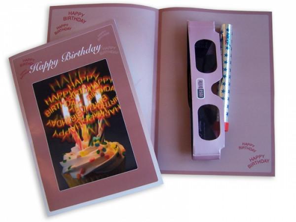 Geburtstagszauber - Karte mit Happy Birthday Brille und Zaubersterne
