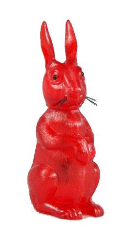 Hase mit Wackelkopf - Kunststoff rot