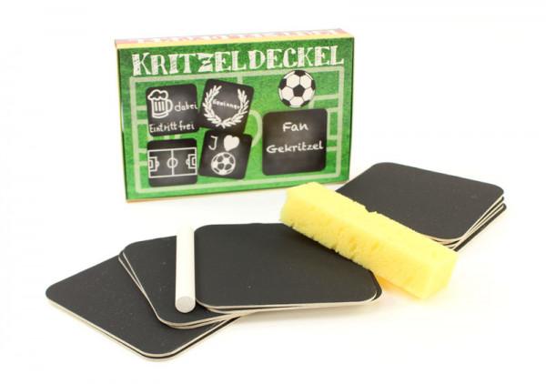 Tafel Bierdeckel - Kritzeldeckel Fussball - mit Kreide beschreibbar