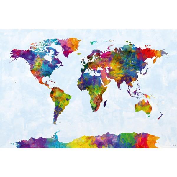 Watercolor World Map Poster Michael Tompsett