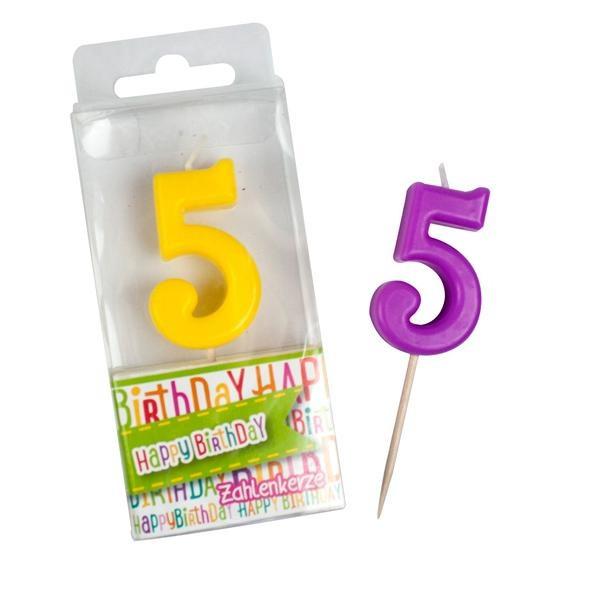 Zahlen-Kerze Ziffer 5