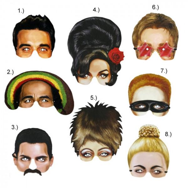 Papier Halb Maske - Music Icons - Preis für 1Stk