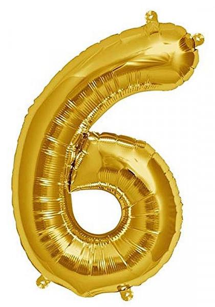 Folien-Ballon 35cm, gold, Ziffer 6