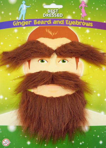 Bart und Augenbrauen zum Aufkleben - Gingerfarbig