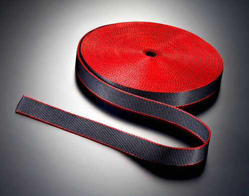 Loses Band Soft - schwarz mit roter Kante 14m