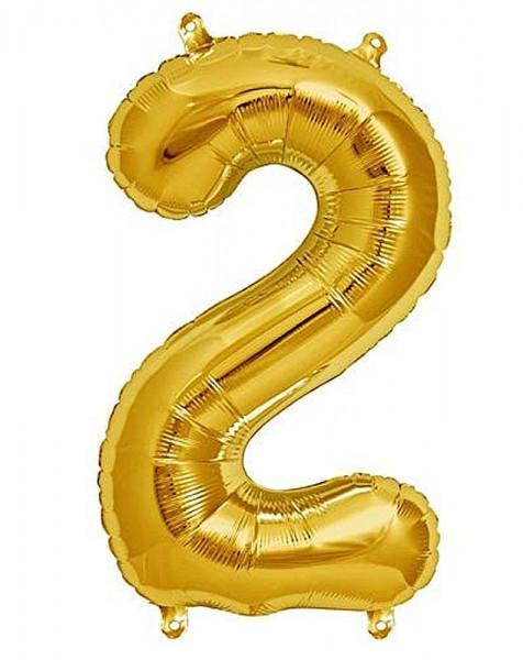 Folien-Ballon 35cm, gold, Ziffer 2