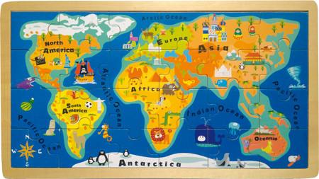 Weltkarten Puzzle aus Holz mit 24 Teilen