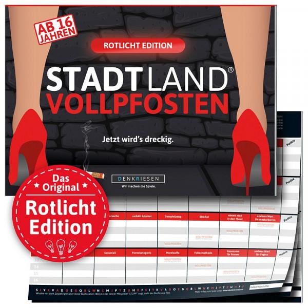 Stadt Land Vollpfosten - Rotlicht Edition - Spielblock