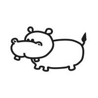 Ministempel Nilpferd Hardi Hippo