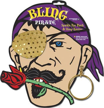 Piraten Set Augenklappe und Ohrring - Glitzer Gold