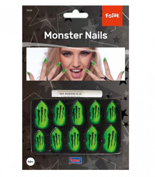 Monster Nägel - Künstliche Fingernägel grün