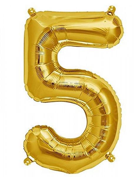 Folien-Ballon 35cm, gold, Ziffer 5