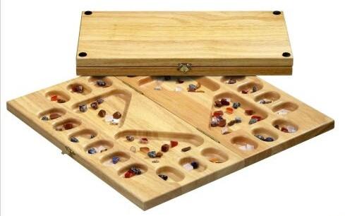 Kalaha für 4 Spieler, natur mit Edelsteinen 41x21cm