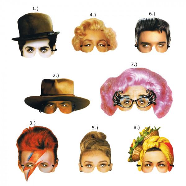 Karton Maske - Famous Faces 20th century - Preis für 1Stk