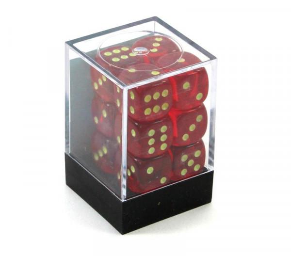 Augenwürfel mit Punkten die leuchten - Box mit 12 Würfeln rot