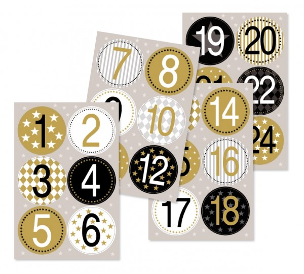 Adventskalender Stickers - Zahlen - gold