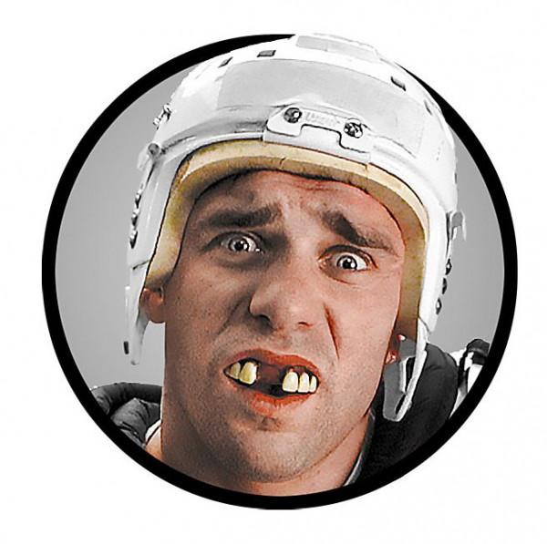 Falsche Zähne Eishockey Spieler