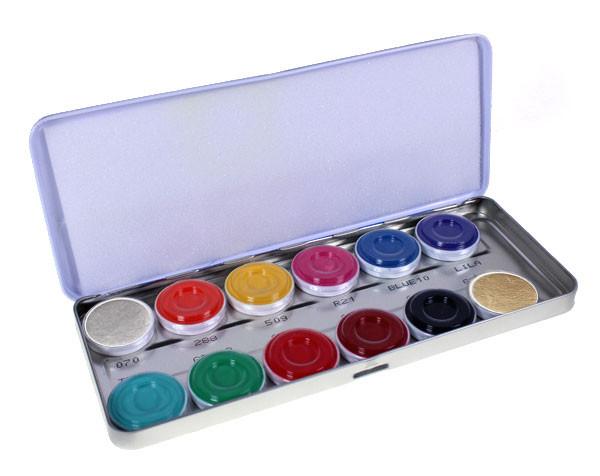 Aquacolor 12er-Palette, inkl gold und silber